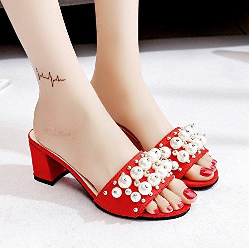 RUGAI-UE Estate sandali donne High-Heeled indossare scarpe Moda Sexy pantofole scarpe perla Gules