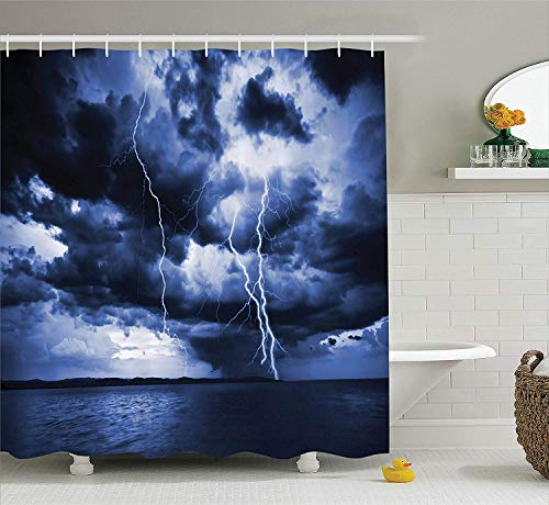 Presock Duschvorhänge, Lake House Decor Shower Curtain Set, Majestic Sky View with Huge Rain Clouds All Over The Sea and Vibrant Storm Rays Decorative, Bathroom Accessories, Blue 60X72 Inch