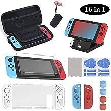 16 en 1 Kit de Accesorios para Nintendo Switch, Funda para Nintendo Switch, Funda Protectora de Silicona   Funda de Transparente   Protector de Pantalla   Tapas para Joystick   Soporte Ajustable