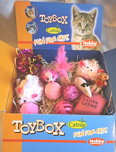LUXURY CAT CHRISTMAS GIFT BOX IN FELINE FEMININE PINKS 12 CATNIP CAT TOYS