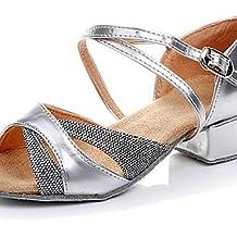 shangyi Zapatos de baile No personalizable–Bajo tacón–Piel sintética/sintéticos–Latin/Salsa/Flamenco/Samba–Niños, dorado, us10 / eu27 / uk9 toddle