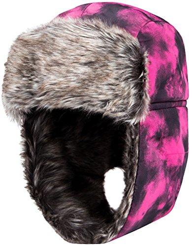 Wantdo Herren Faux Pelzmütze Ohrenklappe Winter Trooper Schnee Trapper Hut Pink