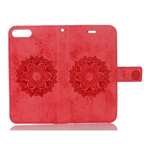 JIALUN-Telefon Fall Für IPhone 7 Plus Fall, reine Farbe geprägt mit Einbauschlitz, Lanyard, magnetische Wölbung, flach öffnen die Telefon-Shell ( Color : Black ) Red