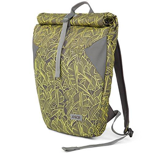 AEVOR Urban Rolltop Lifestyle Rucksack im Alltag inklusive gepolsterten Schultergurten und erweiterbar auf 18 Liter Leaf Yellow - Grau, Gelb