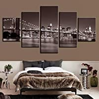 VCTQR 5 consecutive paintingsHome Decor Painting Living Room Poster 5 Pieces Cloth City Night Photo Print on Canvas Wall Art