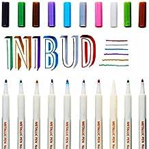 INIBUD Juego de 10 rotuladores de colores metálicos en color oro, plata, blanco y rosa - Rotuladores para escribir tarjetas