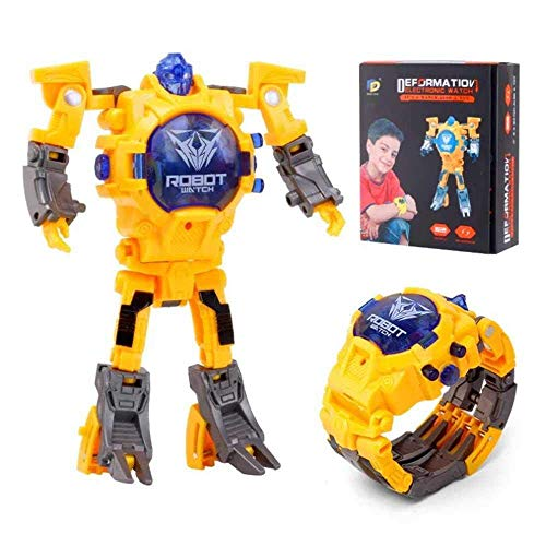 CWeep Deformation Transform Toys Robot Watch, 2 in 1 Kids Digital Electronic Deformation Watch Bots Toys,Creative Educational Learning Xmas Toys for 3-12 Years Old Boys Girls Gifts (Yellow)