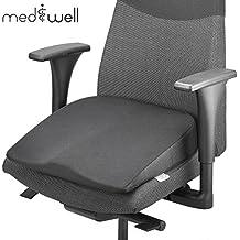 MEDIWELL Cojín de cuña | Cojín de asiento ortopédico y ergonómico | Cojín de asiento Viscoelástico para silla de oficina 40x40 cm de altura | Para bases negras