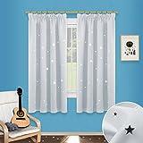 Sterne Verdunkelungsvorhänge mit Band - PONY DANCE 1 Paar flackern Vorhänge Blickdicht Gardine für Baby, Kinderzimmer Vorhang, Thermo isoliert 137 cm x 116 cm (H x B),Grau-weiß