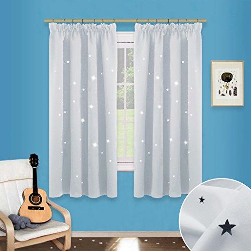 Weiße Kinderzimmer Gardinenstange (Sterne Verdunkelungsvorhänge mit Band - PONY DANCE 1 Paar flackern Vorhänge Blickdicht Gardine für Baby, Kinderzimmer Vorhang, Thermo isoliert 137 cm x 116 cm (H x B), Grau-weiß)