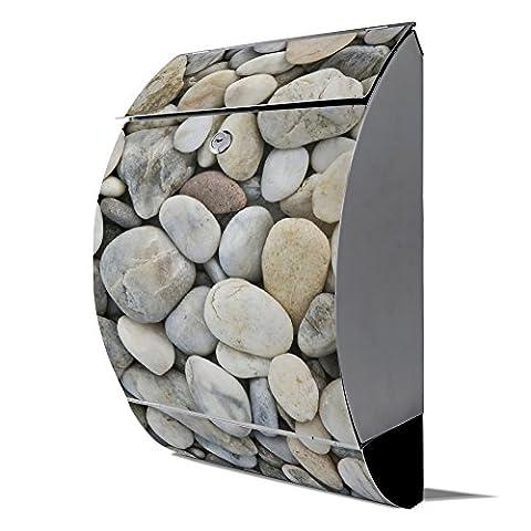 banjado - Design Edelstahl Briefkasten 30cmx45cmx14cm mit Motiv Kieselsteine