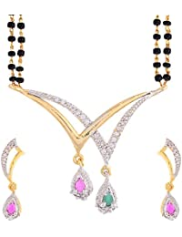 Sitashi 18 K Gold Plated Alloy And American Diamond Fashion Jewellery Mangalsutra Set For Women