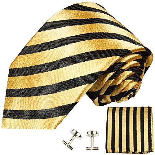 Cravate or noir rayures ensemble de cravate 3 Pièces ( 100% Soie Cravate + Mouchoir + Boutons de manchette )