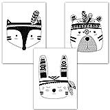 Frechdax® 3er Set Kinderzimmer Poster Babyzimmer DIN A4 ohne Bilderrahmen | Mädchen Junge | Kinderposter Kunstdruck im skandinavischen Stil | schwarz/weiss oder bunt | (Set-23)