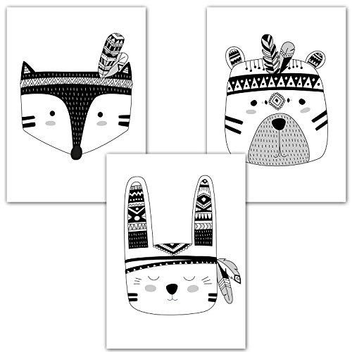 Frechdax® 3er-Set Kinderzimmer Babyzimmer Poster DIN A4 ohne Bilderrahmen | Mädchen Junge | Kinderposter Kunstdruck im skandinavischen Stil | schwarz/weiss oder bunt | (Set-23)