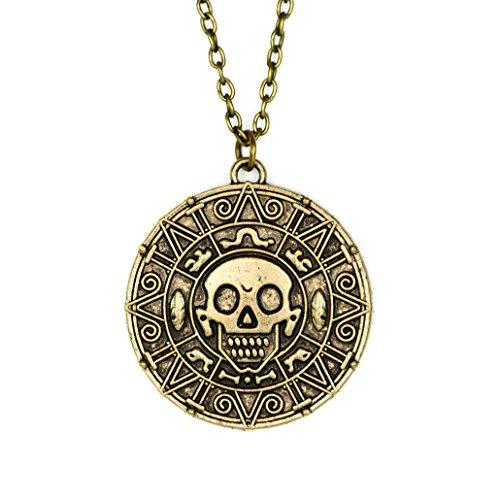 papapanda Halskette mit Azteken Münze von Fluch der Karibik Kette aus Legierung Bronze (Azteken Kostüm Schmuck)