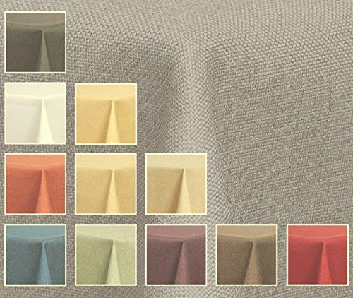 Deko-Home24–Mantel ovalado (aspecto de lino, resistente al agua, 135x 180) de