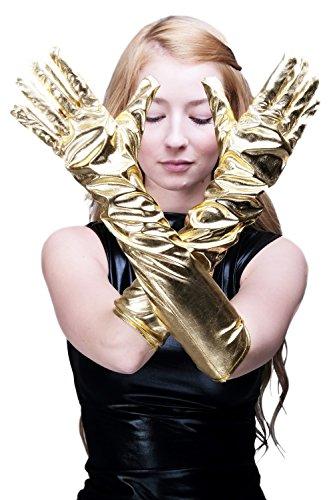 DRESS ME UP Karneval Fasching Schicke Handschuhe Damenhandschuhe lang Burlesque Gold Goldfarben Futuresk Z073 (Roboter Kostüm Handschuhe)