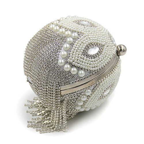 Strass Clutch Women Geldbörse Round Handtaschen Flada Beaded Bags Silber Silber Abend Hochzeit Exquisite q5pnntxF