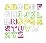ilauke 26tlg. Fondant Buchstaben Ausstecher groß Ausstechform Modellierwerkzeug farbig Alphabet Tortendeko Mazipan Kuchendekorationsset Backen ca. 4,6 cm Höhe und 3 bis 6 cm Breit