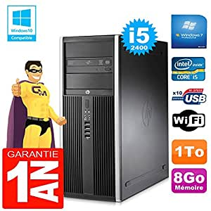 HP PC Tower compaq 8200 Core I5-2400 RAM 8gb Scheibe 1 tg DVD-Brenner Wifi W7