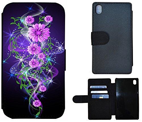 Flip Cover Schutz Hülle Handy Tasche Etui Case für (Apple iPhone 4 / 4s, 1293 Traumfänger Dreamcatcher Braun) 1284 Abstract Blume Lila Rosa Schwarz