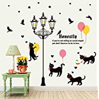 Cat Living Room Bedroom Under The Street Lamp Creative Waterproof Removable PVC Decorative Painting