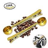MAIYADUO Kaffeedosierlöffel mit Klammer aus Edelstahl, Kaffeemaß, Kaffee Dosierer, Kaffeelöffel für Espresso, Kaffee ect. Messlöffel 2 Stück im Set,