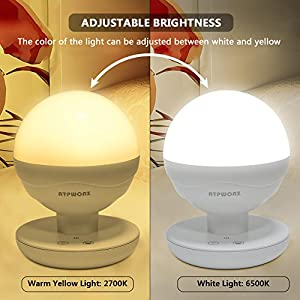 [ Upgraded]ATPWONZ Children's LED Night Light,Dimmable LED Baby Night Light/ Touch Bedside Lamp/ Rechargeable Camping Lantern for home, indoor and outdoor ( White and Warm White light Adjustable) by ATPWONZ