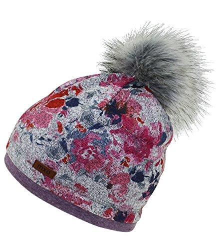 Maximo Mädchenpudelmütze Pudelmütze Bommelmütze Fleecemütze Wintermütze geblümt mit Fleecefutter für Kinder (MX-73500-984100-W17-MA0-0057-55) in Fuchsia, Größe 55 inkl. EveryKid-Fashionguide