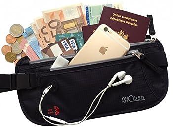 Ceinture Portefeuille RFID Sacoche de Sécurité + Trou d' Ecouteurs pour iPhone 7 - Pochette Protection anti pickpockets éléctroniques bloquant les signaux- Sac Banane discret pour Passeport, billets
