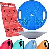 MSPORTS Balance Board Premium 40 cm Durchmesser inkl. Übungsposter - Therapiekreisel Physiotherapie Wackelbrett (Blue)