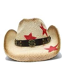 Sombrero de Vaquero Occidental de Paja para Mujer con Banda Punky de Dinero  Estrella Lady Dad Sombrero Hombre Cowgirl Jazz ! (Color… 69291d47311