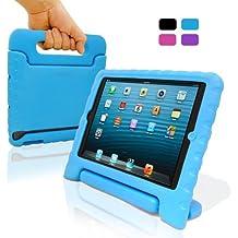 KHOMO® Funda SAFEKIDS de Goma Protectora Antichoque para Niños - Compatible con Apple iPad Air 2, Air 1, iPad Pro 9.7, y Nuevo iPad 9.7 - 2017 - Azul Celeste