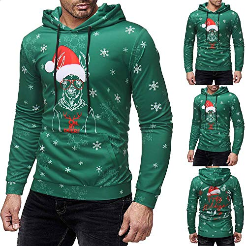 Homme de Noël imprimé Pull Long Manche Hooded Sweat Tops Chemisier