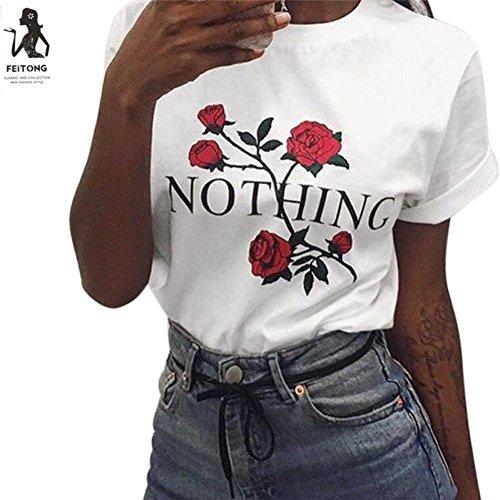 Malloom® Damens Rose Printing Sommer Lose Tops Kurz-Sleeved Bluse Shirt (Kostüm Supergirl 52)