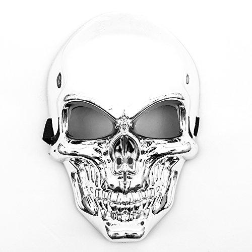 TrendandStylez Totenkopf Maske Silber Skelett Mask Chrom