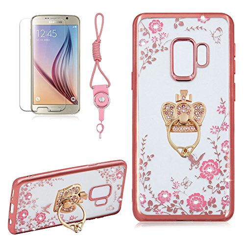 Price comparison product image For Samsung Galaxy S9 Plus Case, Girlyard Crystal [Pink Flower Butterfly] Glitter Sparkle Case Soft Silicone TPU Rose Gold Bumper Ultra Thin Back Cover with 360 Degree Rhinestone Rhinestone Crown Ring Protective Cover for Samsung Galaxy S9 Plus