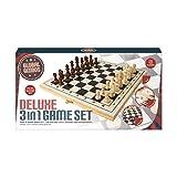 Global Gizmos 50740Deluxe Triple en bois Jeux Compendium Lot