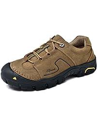 Hombres zapatos de senderismo al aire libre de cuero genuino antideslizante punta redonda con cordones zapatos ocasionales del deporte Eu tamaño 38-44 ( Color : Khaki , Size : 38 )