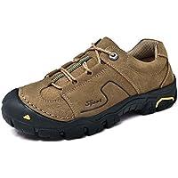 Hombres zapatos de senderismo al aire libre de cuero genuino antideslizante punta redonda con cordones zapatos ocasionales del deporte Eu tamaño 38-44 ( Color : Khaki , Size : 44 )