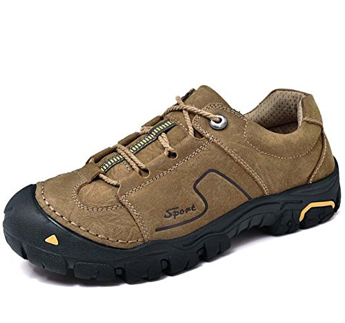 Pattini da trekking all'aperto da uomo scarpe da tennis in pelle vera pelle antiscivolo Pochette da sport casual in pizzo Eu Size 38-44 Khaki