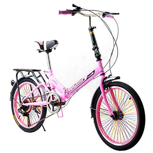 Vélos pliants Vélo Pliant Unisexe-Adulte Vélo 6 Vitesses 20 Pouces Ensemble Vitesse Variable Vélo Amortisseur Vélo (Color : Pink, Size : 155 * 111 * 25cm)