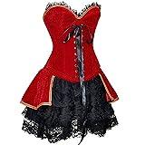 szivyshi Halloween Sexy Romanticismo Burlesco Annata Fullbreast Corpetto con Accoppiamento Roccia Corsetto Rosso Abito 2XL