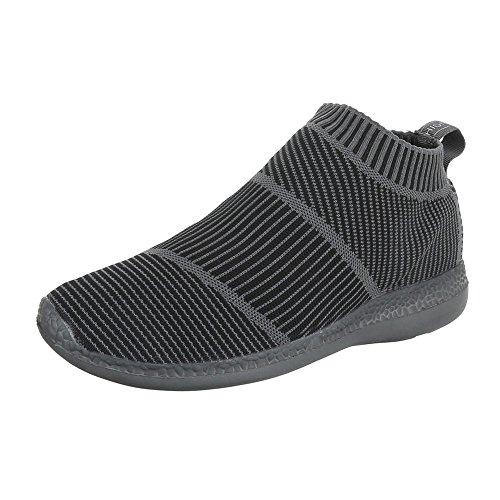 Slipper Damenschuhe Herrenschuhe Leichte Unisex Sneakers Ital-Design Halbschuhe Grau BY3111