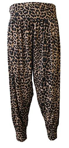 WearAll - Damen Übergröße Harem hose lange Länge elastisch - 10 Farben - Größe 40-54 Leopard