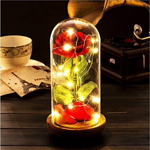 Künstliche Rose Nachtlicht Weihnachten Valentine Geschenk Romantische Ewige Rose Blume Licht Led Glasabdeckung Holz Basis Wohnkultur (Valentines Rose Künstliche)