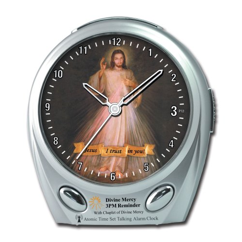 Maximal Power ElecTalkClock 3PM Divine Mercy Musical Reminder Atomic Talking Alarm Clock with Atomic Clock Features (Silver) - Digitale Radio Atomic Clock