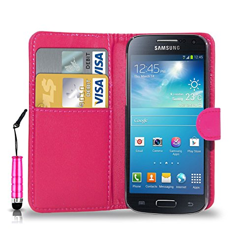 GBOS Samsung Galaxy S4 Leather Wallet Book FLIP CASE Cover Pouch Card & Cash Slot with Mini Touch Stylus Pen Pink