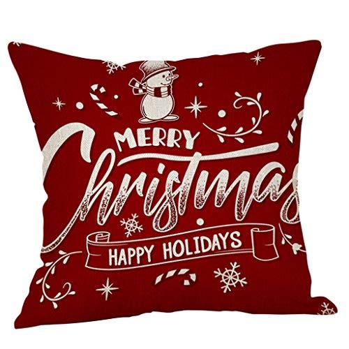 Fenverk Weihnachtsdeko KissenhüLle 45 X 45 cm Kissenbezug Mit SchöNem Weihnachten Muster/Weihnachtskissen/Kissen Weihnachten/Bettwäsche aus Baumwolle(Nikolaus, Schneeflocken, Elch)